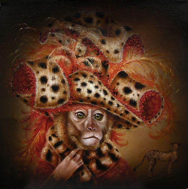 Monkey Wearing Cheetah (La Proie) from Modern Eden Gallery