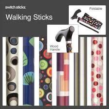 Switch Sticks® Folding Walking Sticks help consumers age in style with bold, contemporary, colorful designs. Switch Sticks® has taken an institutional product and made it into a fun and fashionable accessory. A line of walking sticks with bold, contemporary and colorful designs,is helping consumers age independently with confidence, dignity and style. The folding walking stick includes a coordinating wood handle, wrist strap, Velcro band and rubber tip to create a polished look.