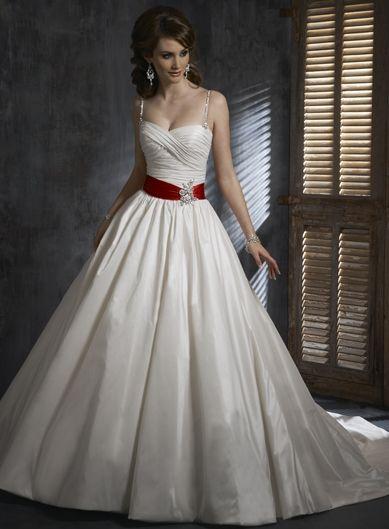 Robe de mariée de nouveauté en Satin avec ceinture rouge