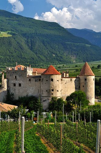 Kastelbell Castle - Val Venosta, South Tyrol, Italy. Kastebell Castle,  is a picturesque castle, believed to have been built by the Montalban family  during the 11th Century.  In 1531 the castle came into the Hendl family who renovated and extended it to become the beautiful and classical castle that it is.  In 1956 Kastebell Castle became state property but after years of litigation the Hendl family redeemed it for the sum of 16 Euros.   Information from Travelinos.com
