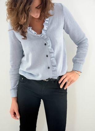 e4956b1e92d Solid Casual V-Neckline Long Sleeve Blouses - Floryday   floryday ...