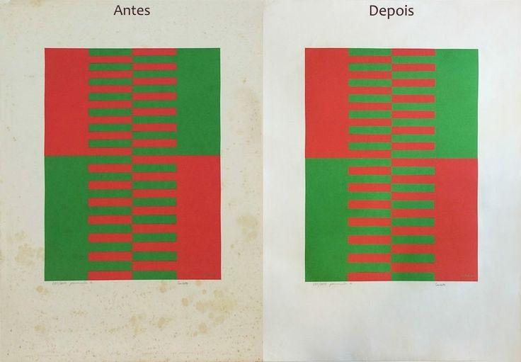 Registro comparativo de antes e após a intervenção - gravura assinada por/atribuída a Sacilotto - Ateliê, Arte e Restauração. #sacilotto #restauro #artrestoration #conservation #artconservation #gravura #restauração