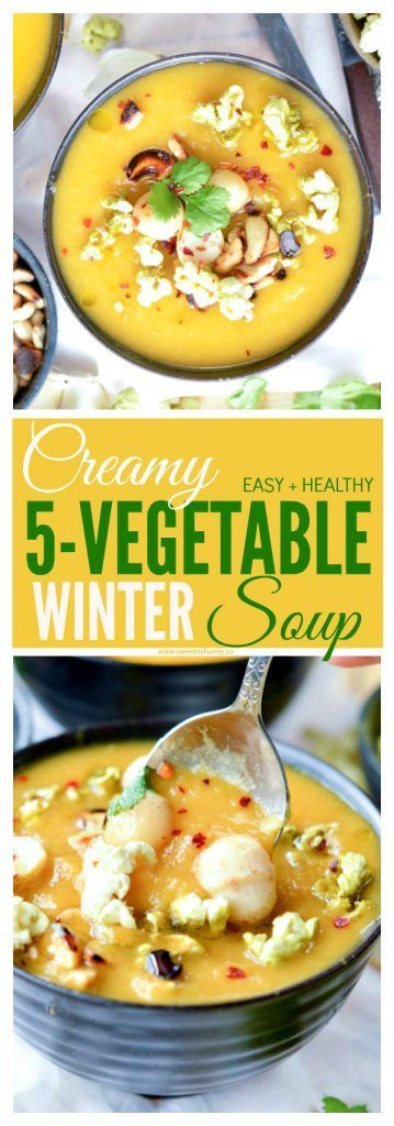 Healthy Winter Vegetable Soup with Roasted Garlic Nuts and Match Coconut Oil Pop Corn. An easy, healthy low calorie cabbage soup with sweet potato. Vegan soup. Gluten free. Low carb. Low calorie. Detox soup. Clean eating soup.