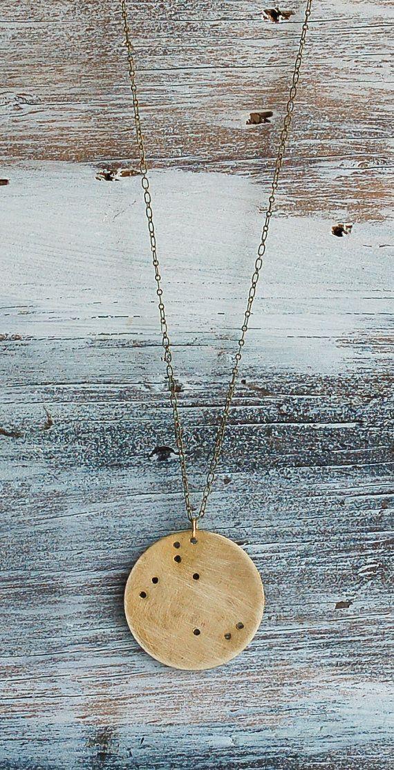 redtruckdesigns shop Constellation PENDANT Unisex Gold Brass Minimalist  Zodiac Star Bridesmaid Gift