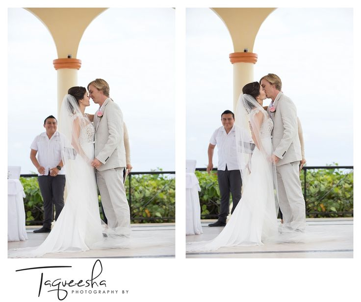 The first kiss, Destination wedding at the Grand Bahai.  Photography by Taqueesha