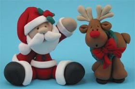 @Shelly ComiskeyPolymer clay - Santa & Reindeer.