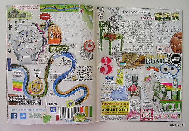 Smash book page by deLoto  I like the use of magazine pages and scraps