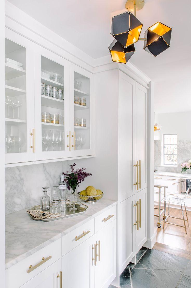 white kitchen with brass hardware aidan design in 2020 gold kitchen white shaker kitchen on kitchen remodel gold hardware id=90681
