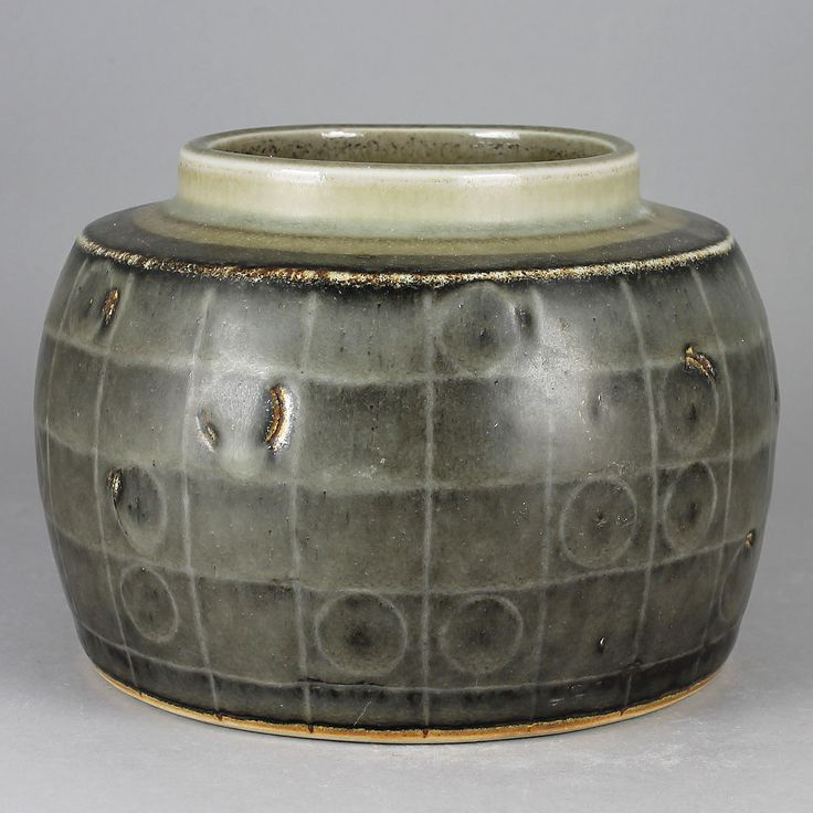Carl-Harry Stalhane (1960s) Unique Rough Rounded Incised Vase