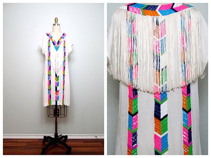 Neon Pop Beaded Sequin Dress / Retro Sequined Boho Kaftan /