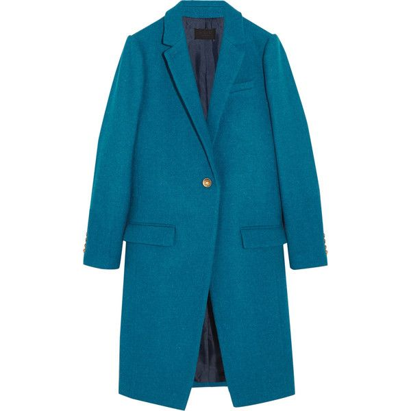 J.Crew Collection Harris Tweed wool coat (£250) ❤ liked on Polyvore featuring outerwear, coats, teal, teal coat, j.crew, woolen coat, blue coat and j crew coat