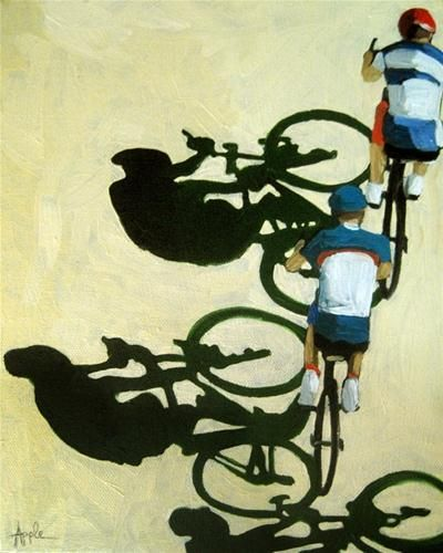 """The Race bicycle art oil painting"" - Linda Apple"