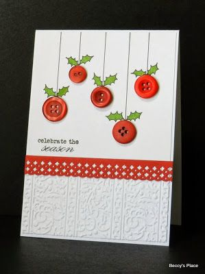Beautiful Christmas Card with button ornaments!