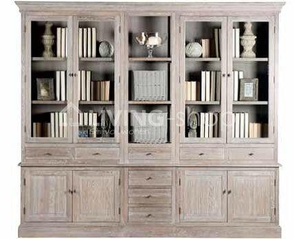 5 delige grijs eiken vitrinekast / bibliotheekkast wandkasten www.living-shop.eu