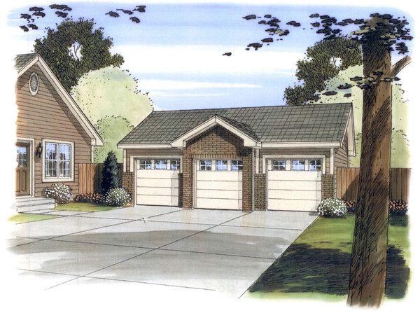 Garage Plan 76153 Area 768 sq ft, 3 bays, 32u0027 x 24u0027 #3cargarage - new blueprint for 3 car garage
