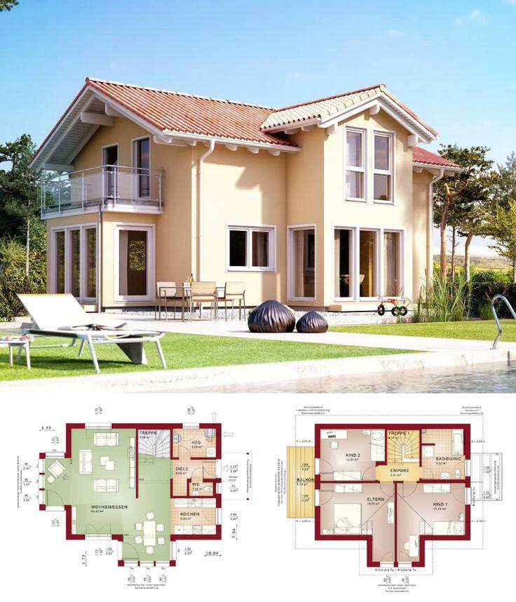 STADTVILLA MEDITERRANER LANDHAUSSTIL   Haus Evolution 122 V4 Bien Zenker    Einfamilienhaus Modern Satteldach Fassade Putz