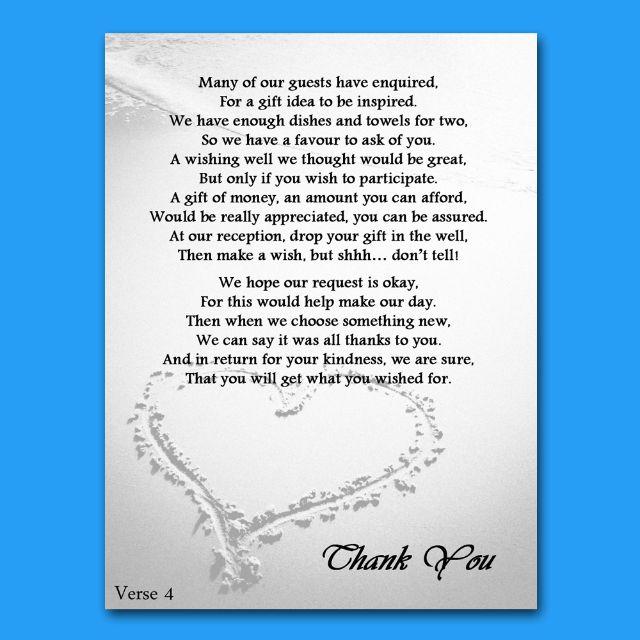 Wedding Money Tree Verse | Wedding/Honeymoon Cash/Money Request Poems 4 Verses P3 | eBay