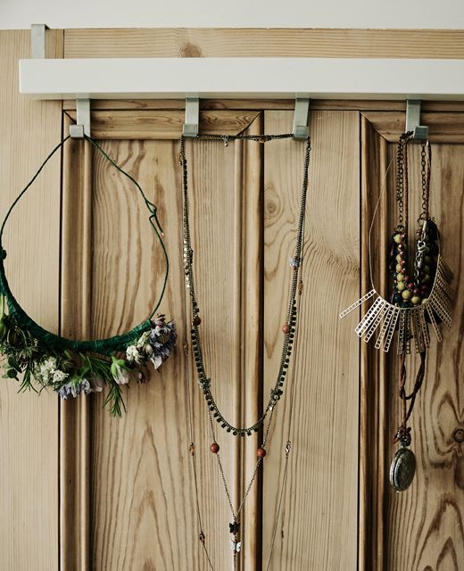 Use hooks to put your favourite accessories on display - this over-the-door