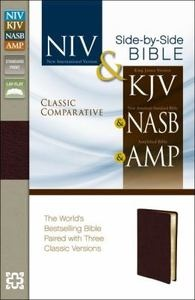 Comparative Side-By-Side Parallel Bible NIV/KJV/NASB/Ampli - Burgundy Bonded NEW 031043677X | eBay
