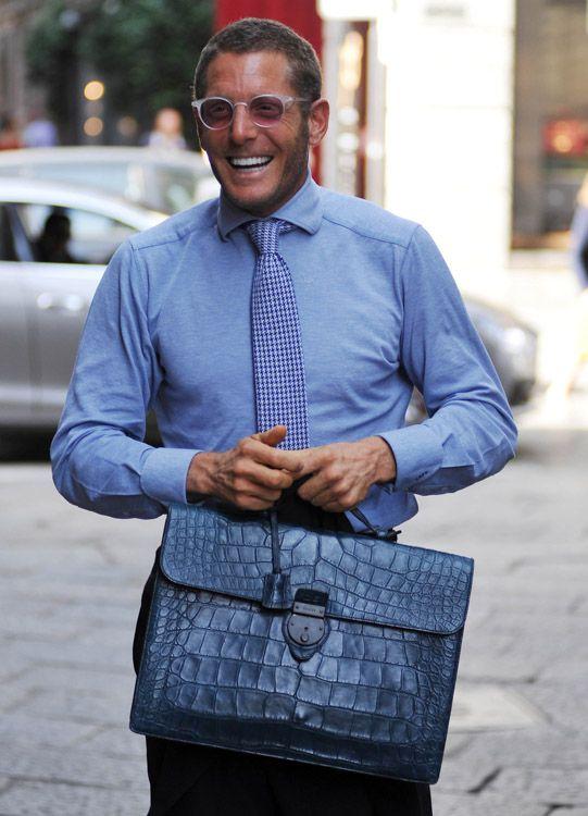 Lapo Elkann: Gucci Matte Crocodile briefcase