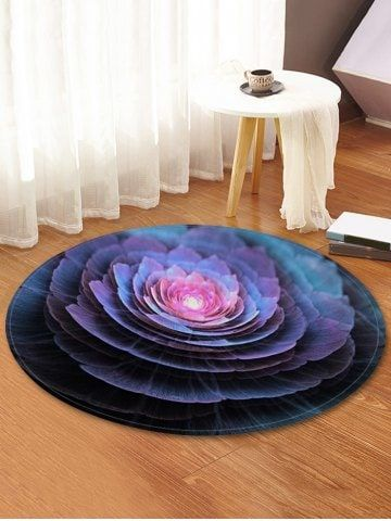 3D Flower Print Round Coral Fleece Floor Rug – PUR…