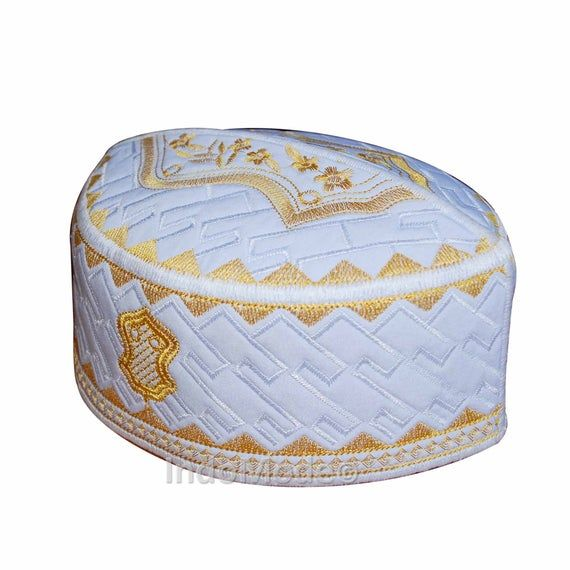 TheKufi Exclusive Royal Blue White Golden Embroidered Sandal Kufi Crown Cap