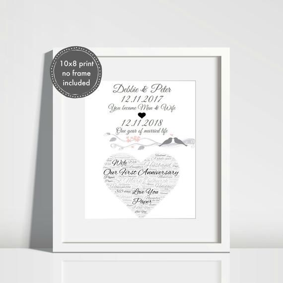 WORD ART PERSONALISED FIRST 1st WEDDING ANNIVERSARY GIFT PAPER GIFT