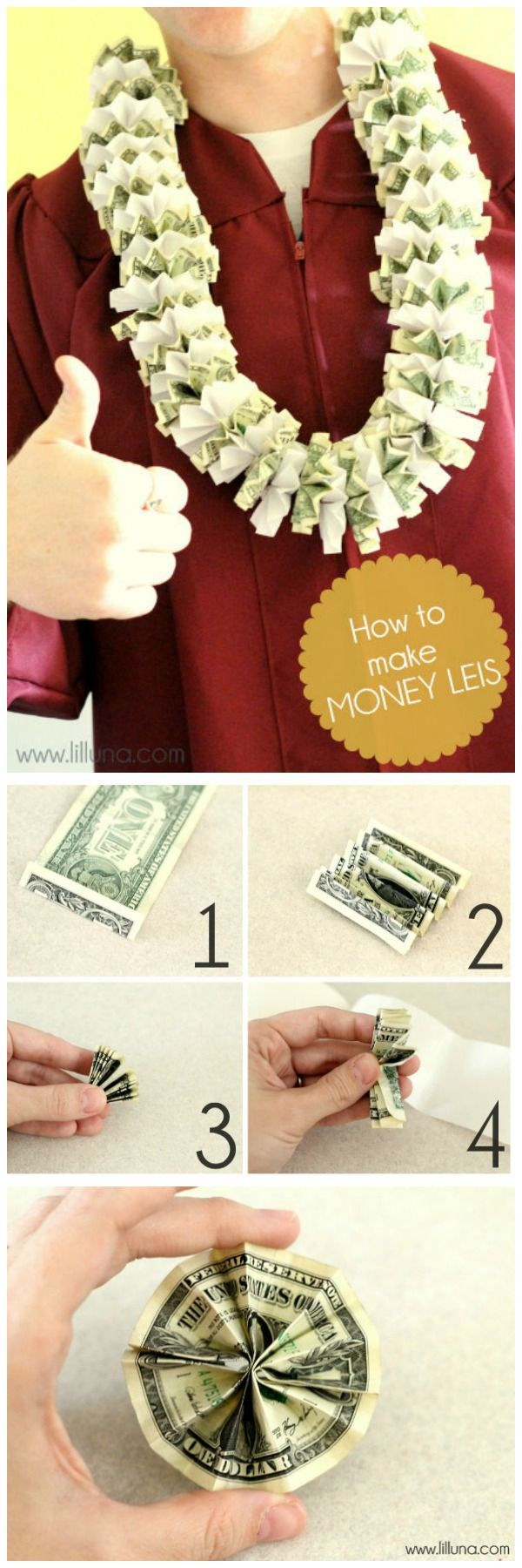 Super easy way to make Money Leis- the perfect graduation present! { lilluna.com } #graduation
