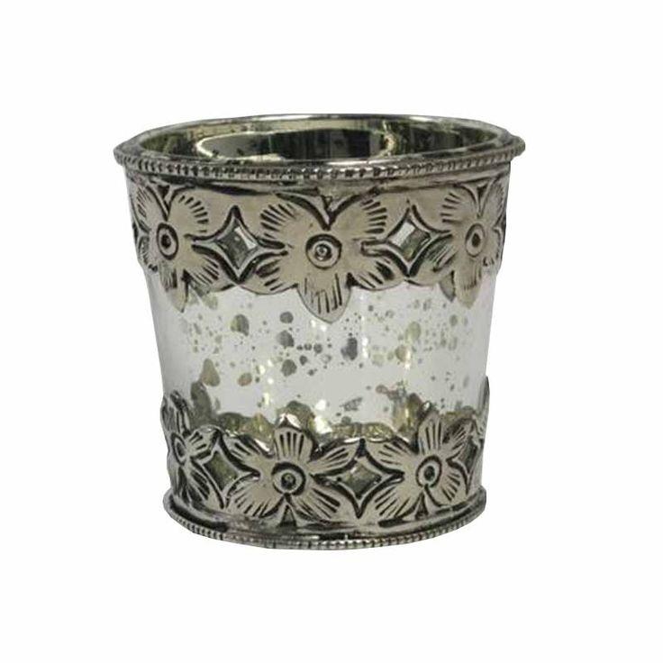 Gümüş İşlemeli Mumluk/Vazo | -Mum/Mumluk | designstatehome.com