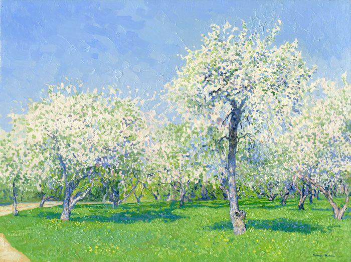 Catawiki online auction house: Simon Kozhin (Kojin) - Ascension garden. Apple trees in bloom. Kolomenskoye