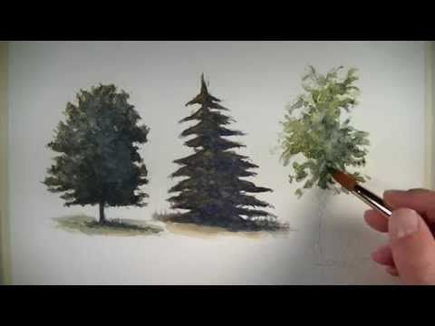 How to Paint a Group of Trees With Watercolor: From Watercolor Tutor.com - YouTube