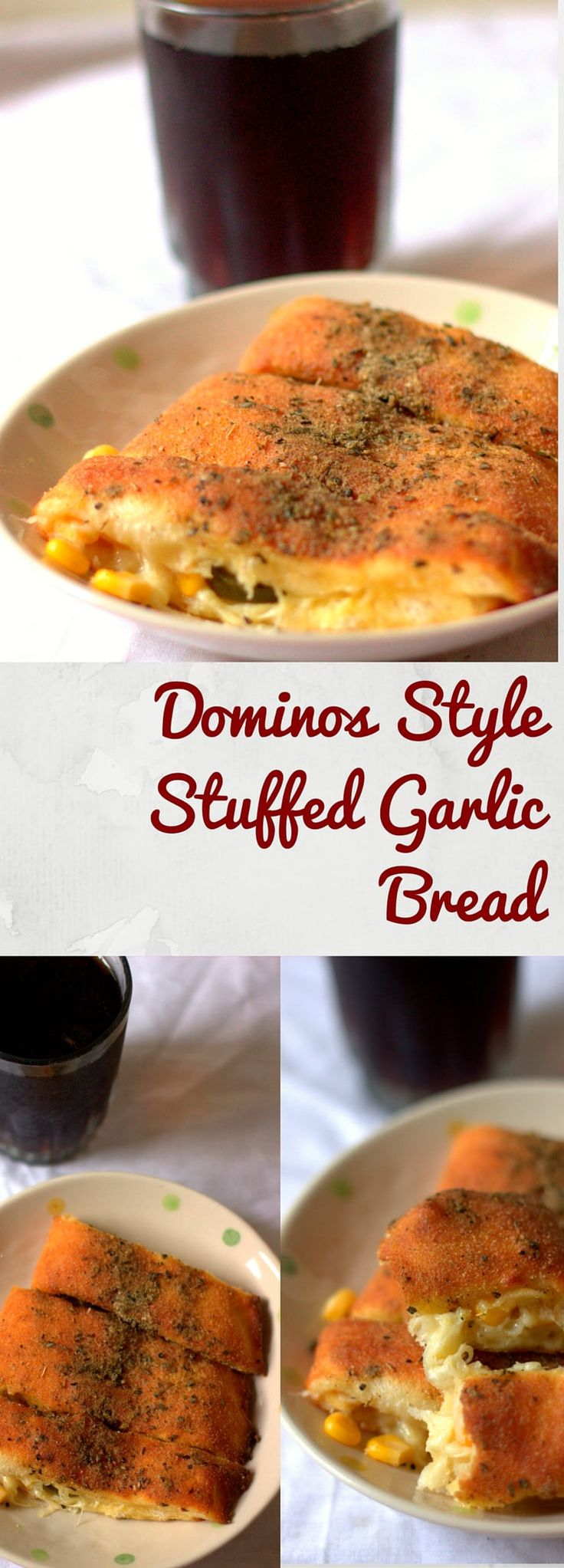 Easy Cheese Garlic bread stuffed with corn and jalapeno made in the Dominos style. You can use cheddar or mazzarella cheese and this is a great starter.