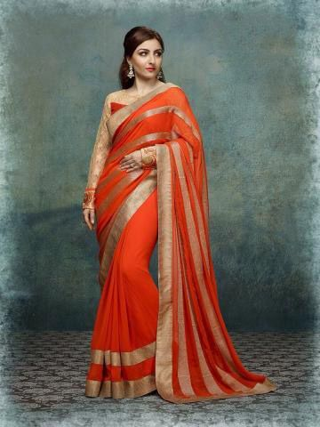 Flaunt sartorial elegance as you wear this orange saree with jari embroidery . Exclusively designed, this saree will enhance your curves . This attractive saree will surely fetch you compliments for your rich sense of style.