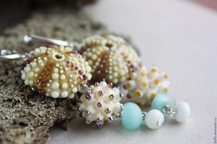 """Купить Серьги лэмпворк """"Oceanos"""" стекло, серебро 925 - браслет, lampwork (лэмпворк), морская тема"""