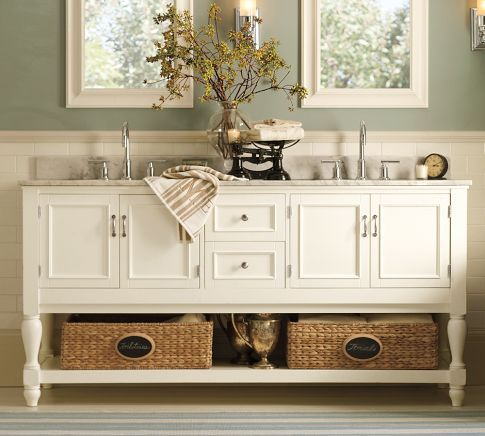 Newport Double Sink Console - White | Pottery Barn: Wall Colors, Paintings Colors, Masterbath, Bathroom Vanities, Paint Colors, Bathroom Ideas, House, Master Bathroom, Pottery Barns