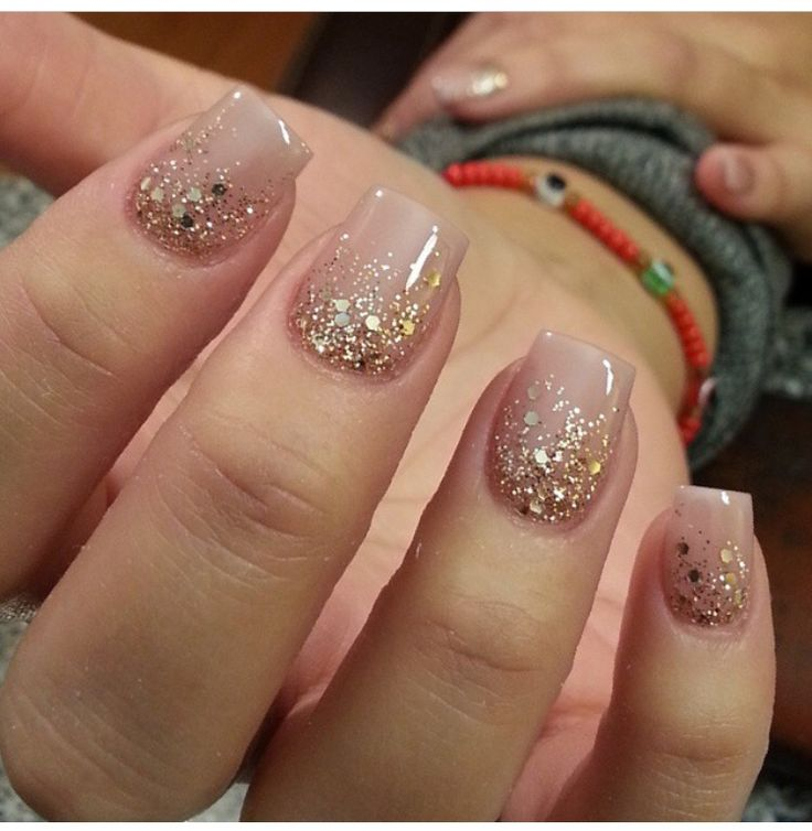 Nude with sparkly Gold glitter