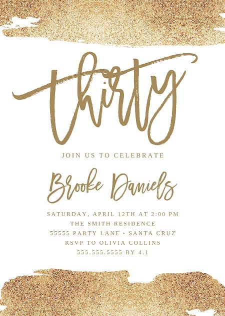 30th Birthday Ideas Thirtieth Party Invitation Have Fun With This Gold Faux Glitter Edit And Print Today