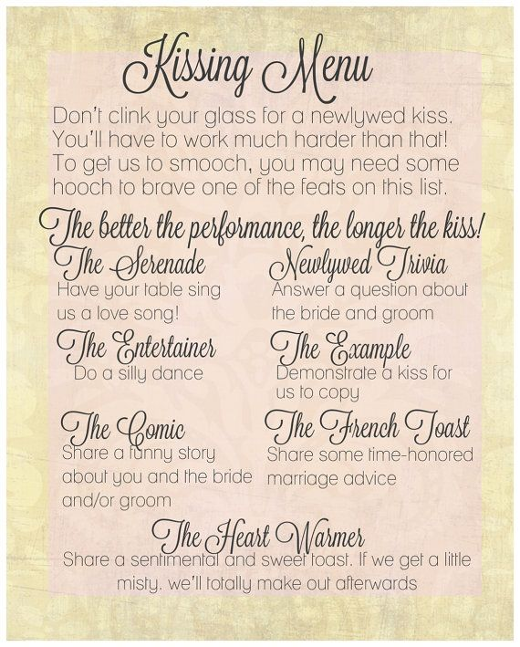 The Kissing Menu  Wedding Decorations  by steviwonderful on Etsy, $5.00 @valdezash15