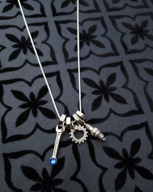 One Large Sterling Silver Hex Nut Pendant Charm