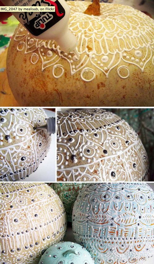 The Puffy Paint Pumpkin | 37 Easy DIY No-Carve Pumpkin Ideas . And other items to make not just Pumkins.
