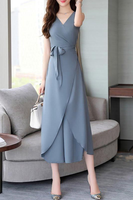 A| Chicoth Sleeveless Chiffon Solid Wrap Bow Tie Slit Elegant Jumpsuit