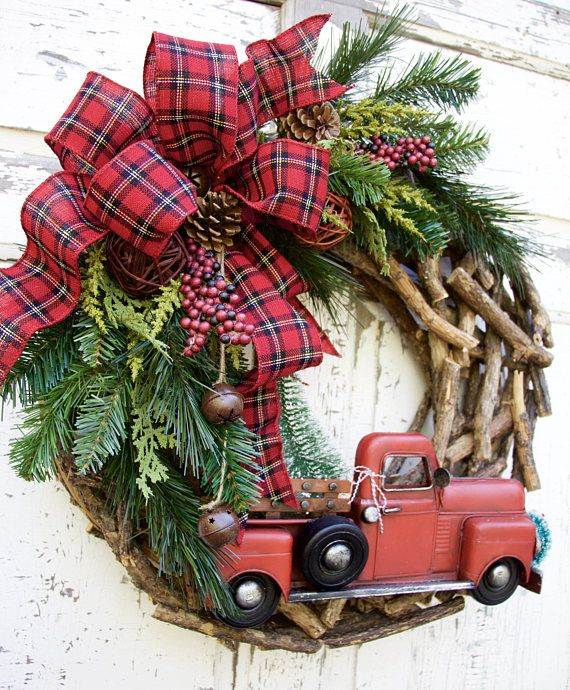 Christmas Wreaths, Woodland Christmas Wreath, Rustic Christmas Wreath, Farmhouse Wreath, Country Christmas Wreath, Red Truck Wreath. Farmhouse Christmas, Cabin Wreath Too cute for words!!! A woodland Christmas to grace your door!!! This wreath is made on a unique rustic wood