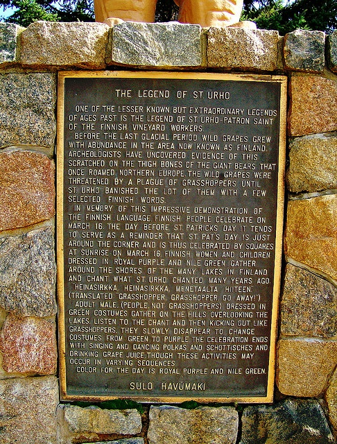 Plaque at St. Urho's Day statue