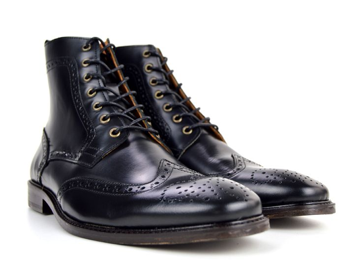 The Shelby – Black Brogue Boots – Peaky Blinders Inspired – Mod Shoes