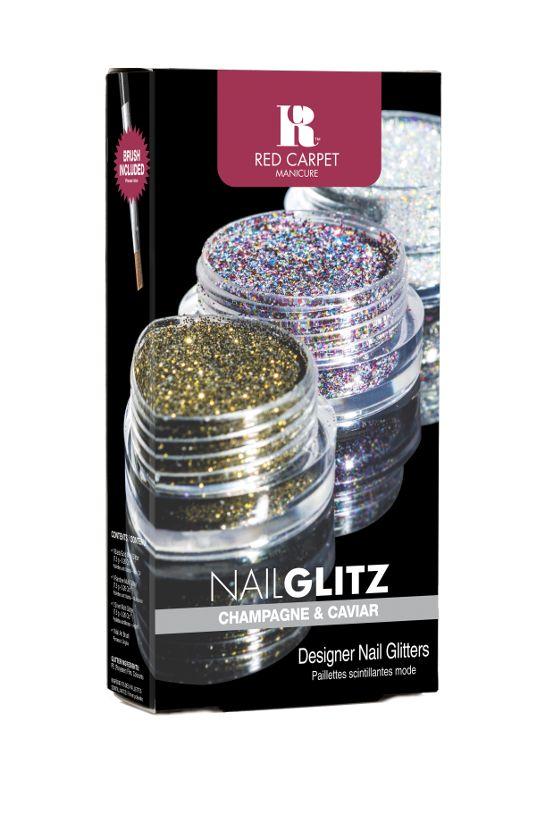 Το Nail Glitz Champagne and Caviar περιέχει 1 βαζάκι χρυσό glitter, 1 βαζάκι ασημένιο, 1 βαζάκι πολύχρωμο glitter και ένα nail art πινέλο.              Τιμή 11,90€