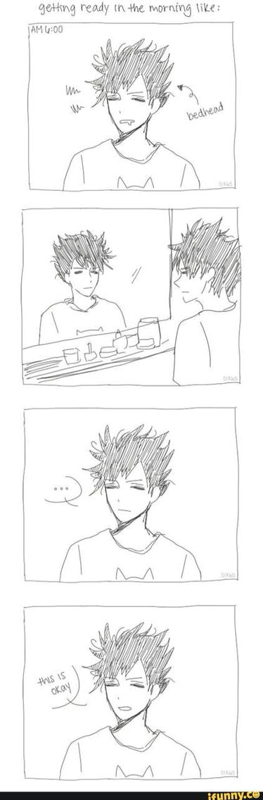 """Kuroo Tetsurou the mystery behind his bed head - """"it's okay"""" *half eye-lidded guy says to himself ad he looks in the mirror @ 6am in the morning*"""