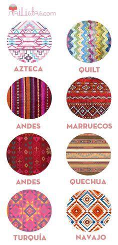 Tribal patterns prints examples: Turquia, Navajo, Andes, Quechua, Marruegos, Aztec, Quilt