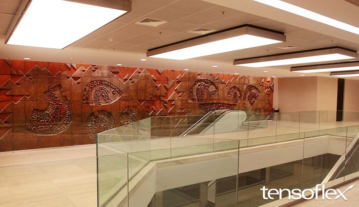 Lobby Rio Sul – Telas Translúcidas Projeto: Farias & Denton  #tensoflex #telastensionadas #telastranslucidas #iluminação #iluminacaodeinteriores #interiores #decor #interior #decoration #illumination #interiordesign #lighting #LightBox #backlight #frontlight #architecture #arquitetura