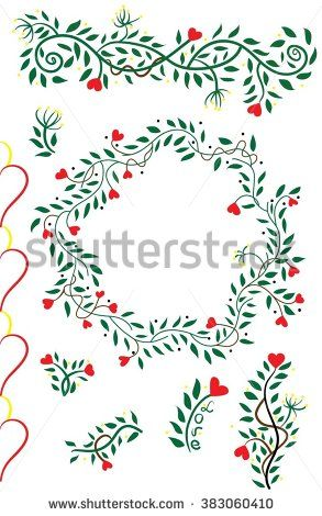 set of vivid floral wreath of hand drawn plants, berries and hearts for design. Vector background for invitation, wedding and greeting cards