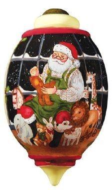 Ne'Qwa Art ALL READY FOR CHRISTMAS Glass Santa Ornament